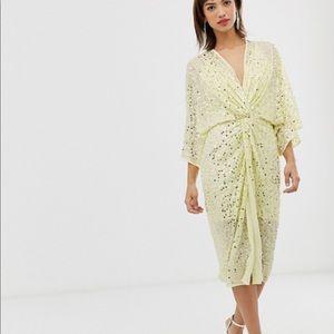 🆕ASOS Scatter sequin knot front kimono dress